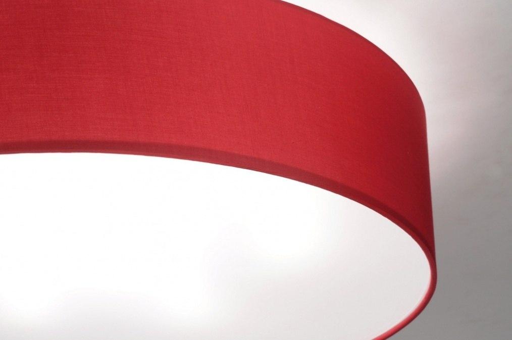 deckenleuchte 71746 modern stoff rot rund. Black Bedroom Furniture Sets. Home Design Ideas