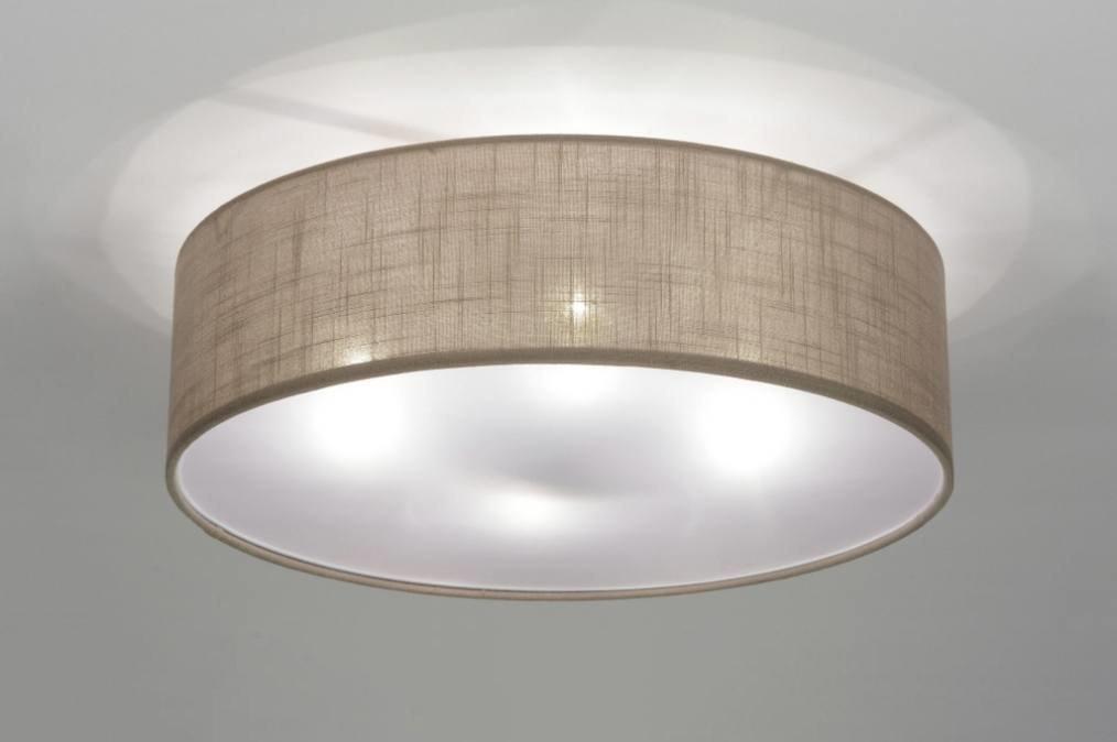 plafondlamp 71763: modern, metaal, stof, taupe