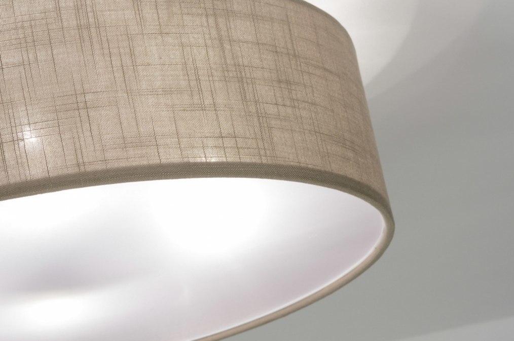 deckenleuchte 71763 modern taupe stoff rund. Black Bedroom Furniture Sets. Home Design Ideas