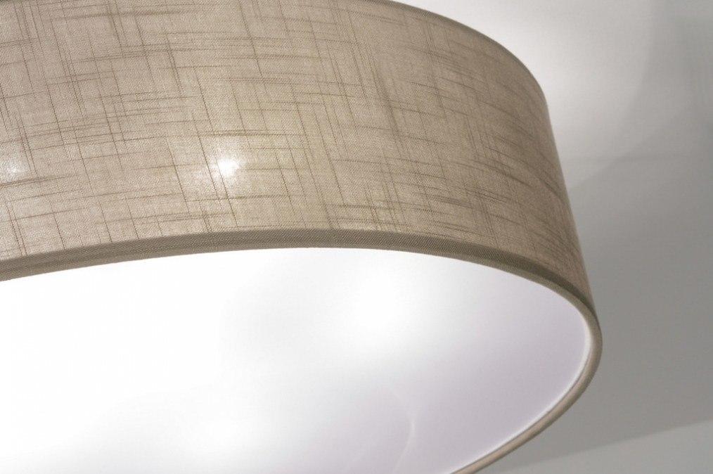 deckenleuchte 71764 modern stoff taupe rund. Black Bedroom Furniture Sets. Home Design Ideas