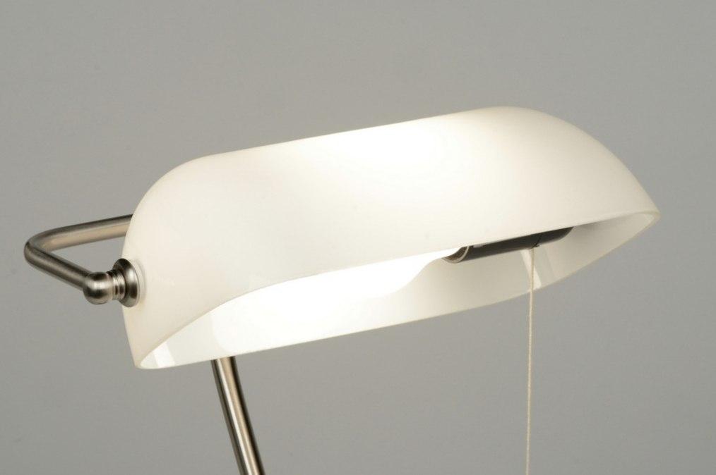Lampe de table 71772 moderne retro verre verre opale blanc for Lampe dehors