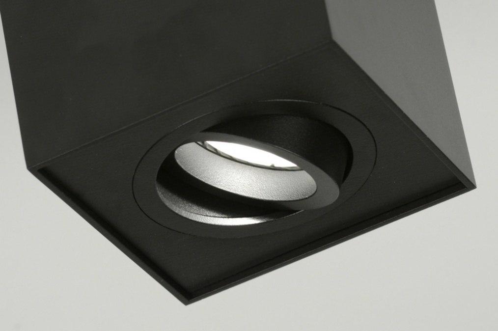Plafondlamp 71786: Modern, Design, Zwart, Mat
