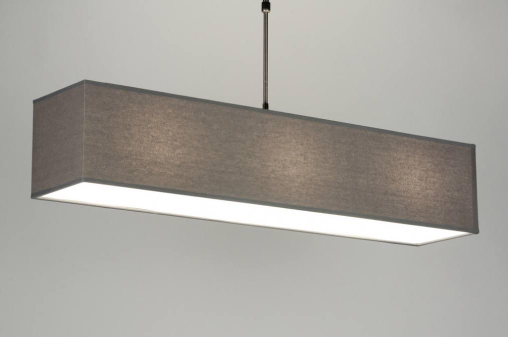 Hanglamp 71824 modern landelijk rustiek grijs stof - Licht taupe grijs ...