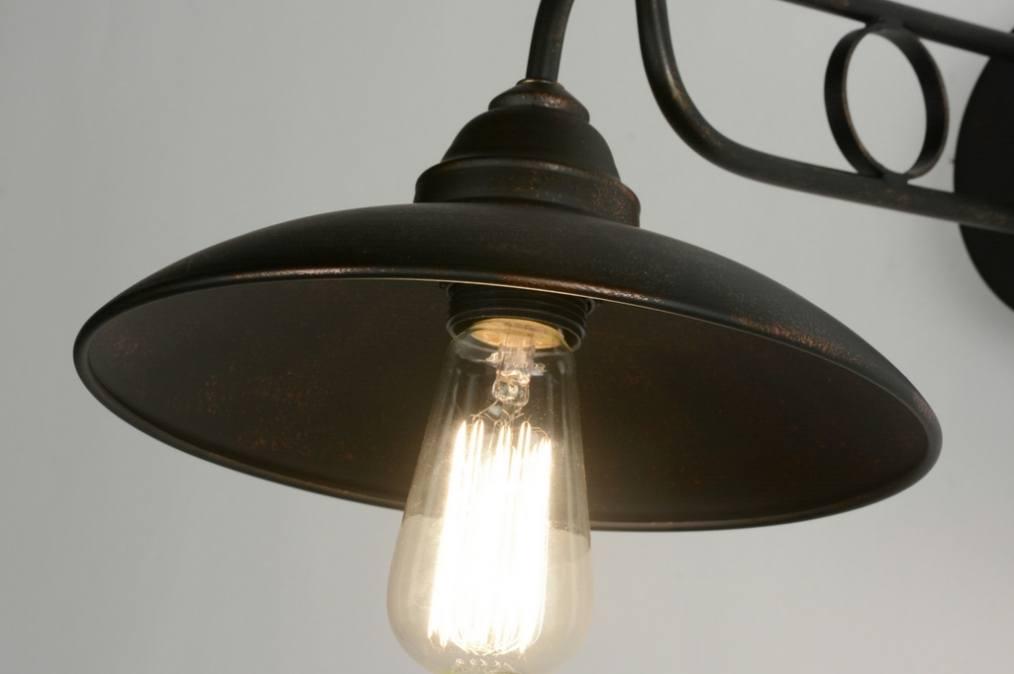 applique murale 71945 classique retro acier rouille bronze. Black Bedroom Furniture Sets. Home Design Ideas