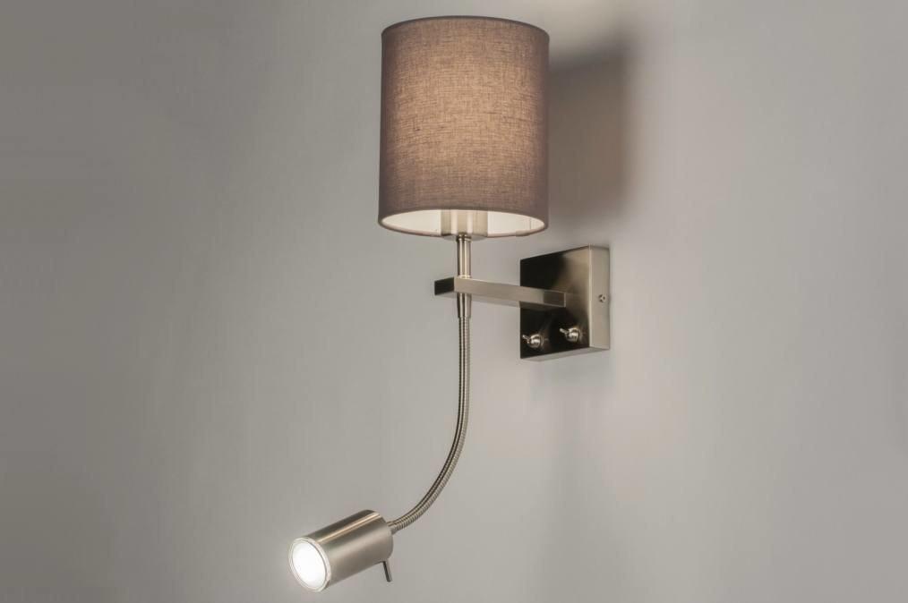 applique murale 72048 moderne acier poli etoffe gris. Black Bedroom Furniture Sets. Home Design Ideas