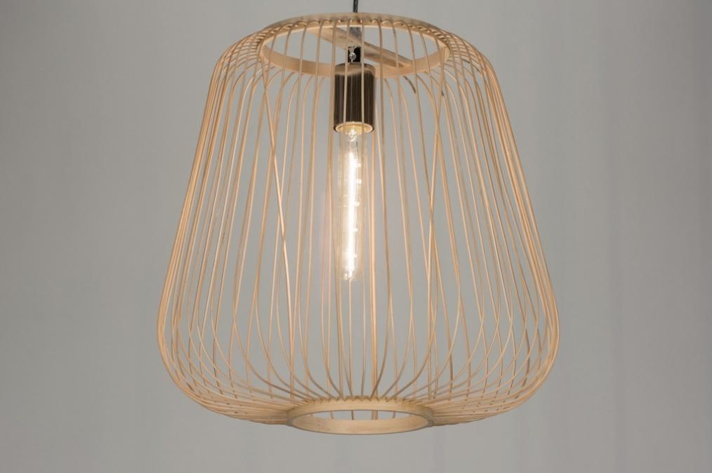 Volledige Woonkamer Set : Round Wood Pendant Light