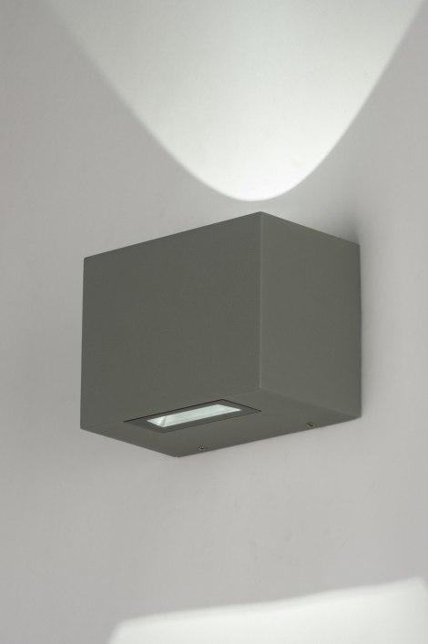 Wandlamp 72138: modern, design, grijs, aluminium