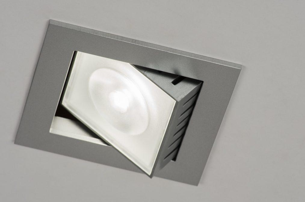 Inbouwspot 72213 design aluminium grijs vierkant - Badkamer kantelen ...