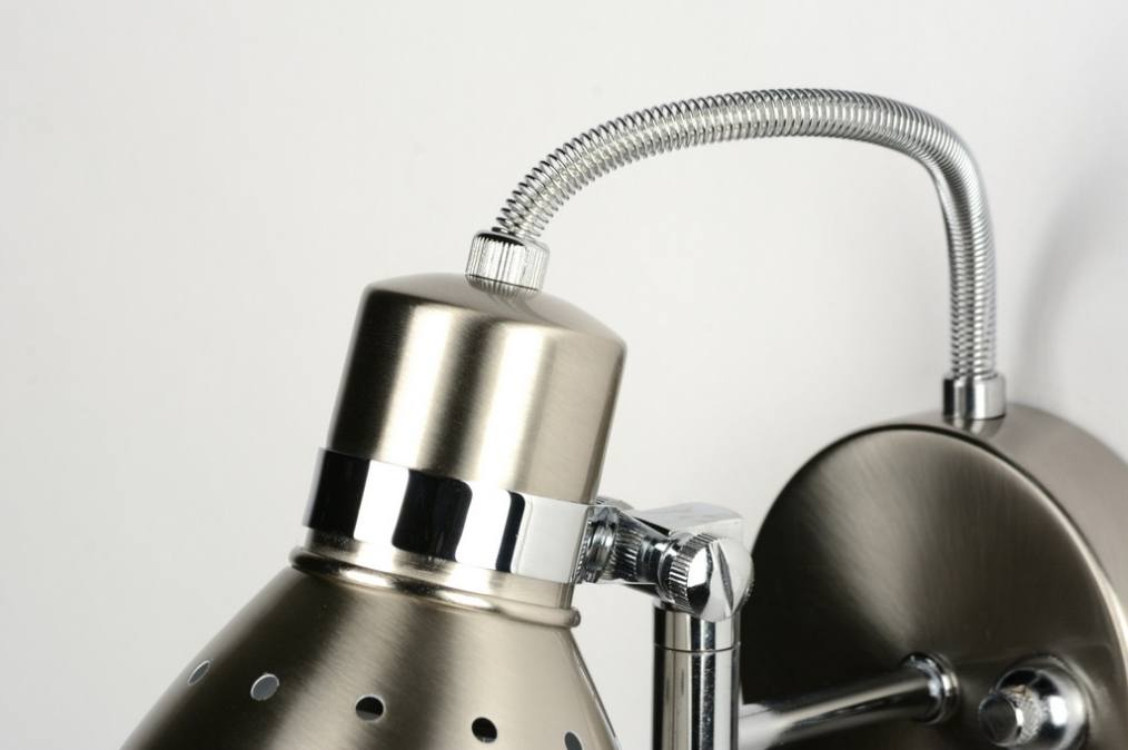wandlamp 80720: modern, retro, chroom, metaal, staal , rvs, rond ...