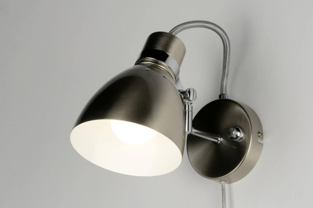 Wandlampjes Slaapkamer : Wandlamp 80720: Modern, Retro, Staalgrijs ...