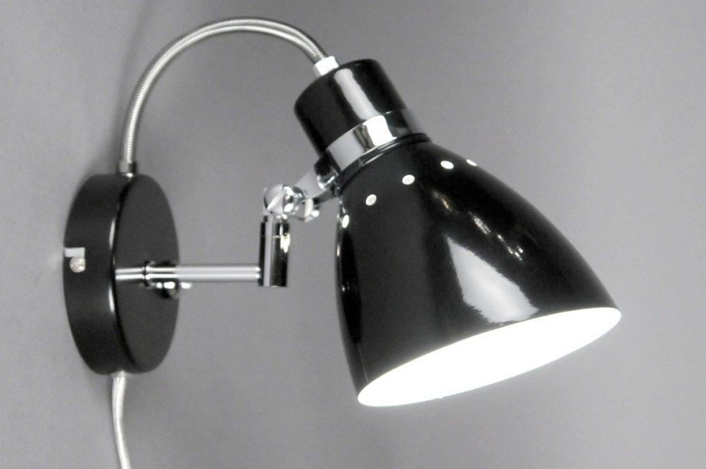 wandlamp 80722: modern, retro, zwart, glans