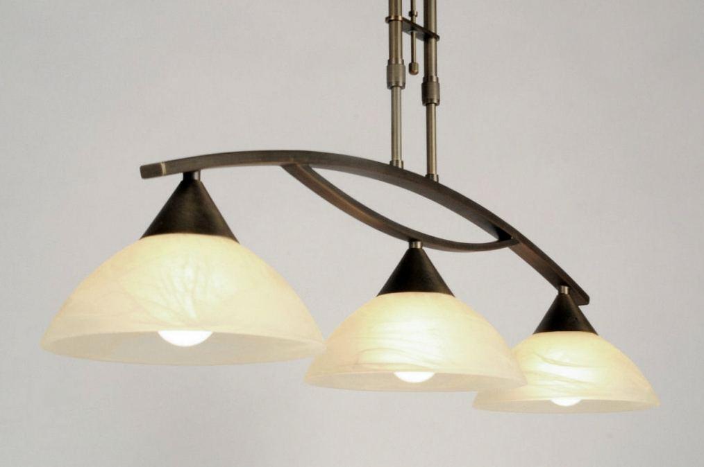 hanglamp 81922: klassiek, brons, glas, zacht geel