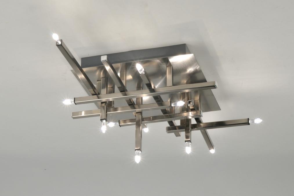 Plafondlampen Keuken : plafondlamp 85729: modern, staal , rvs, vierkant