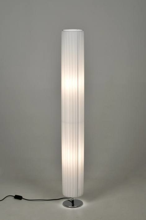 Vloerlamp 86237 Modern Wit Stof Rond