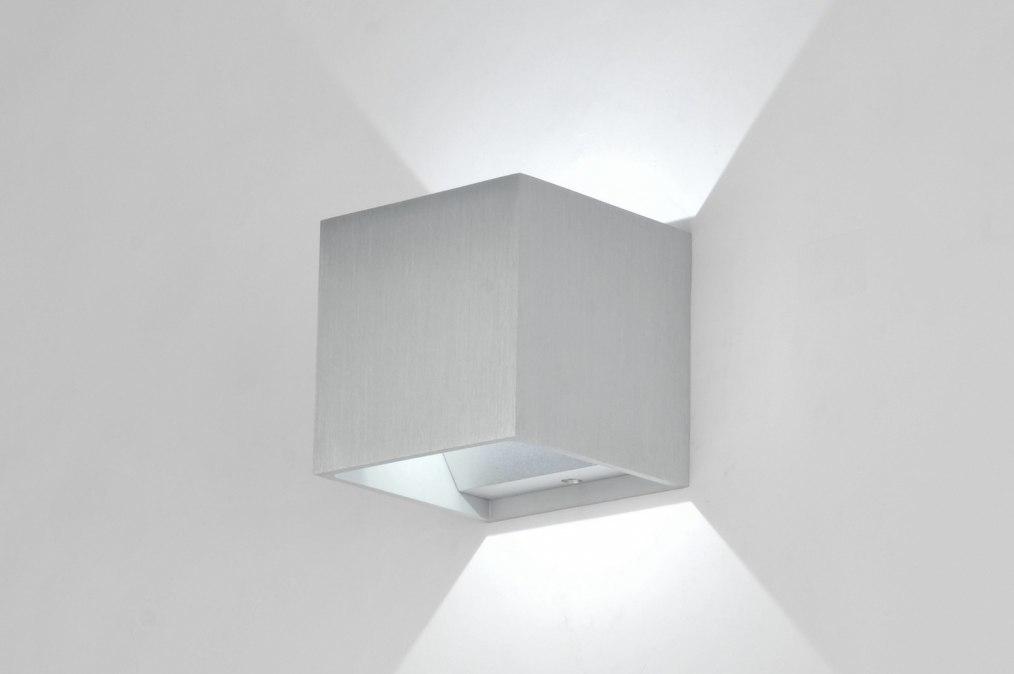 wandlamp 86453 modern design geschuurd aluminium vierkant. Black Bedroom Furniture Sets. Home Design Ideas