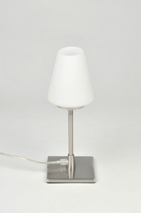 tischleuchte 86842 modern glas mit opalglas stahl rostbestaendig rund. Black Bedroom Furniture Sets. Home Design Ideas