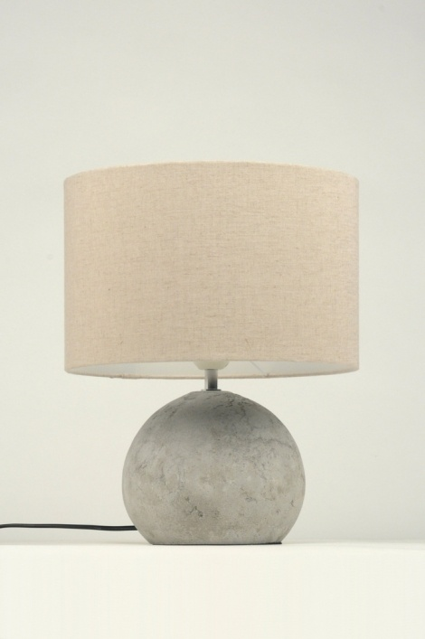 Lampe de table 87591 moderne etoffe gris rond for Lampe dehors