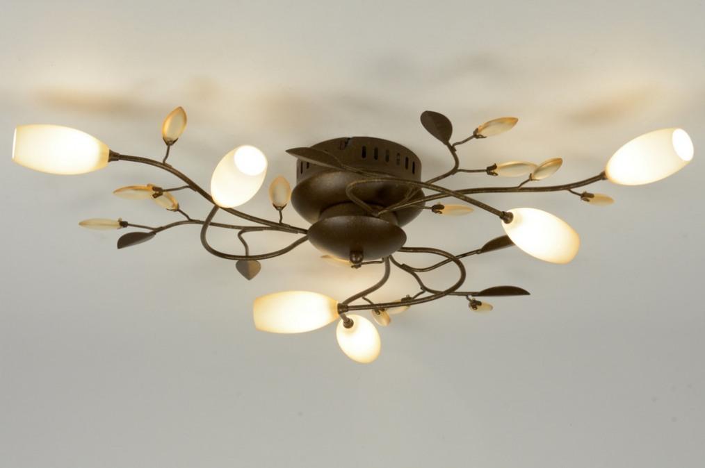 plafondlamp 87895: klassiek, roest, bruin, brons