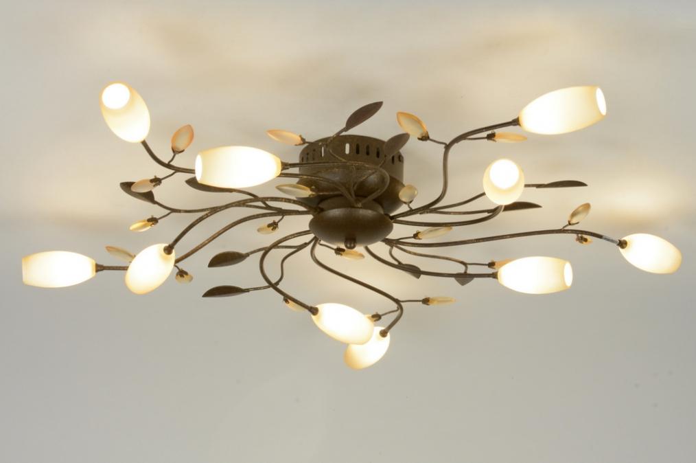 plafondlamp 87897: klassiek, brons, glas
