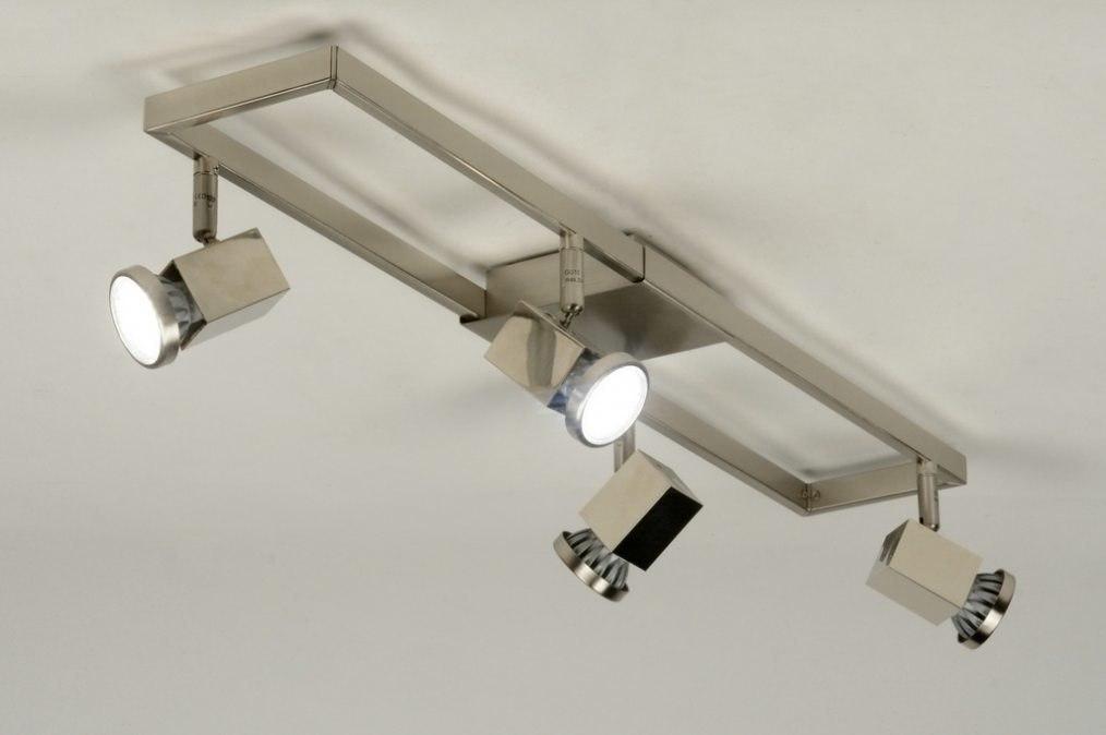 Plafonnier 88581 moderne design acier poli rectangulaire for Plafonnier rectangulaire design