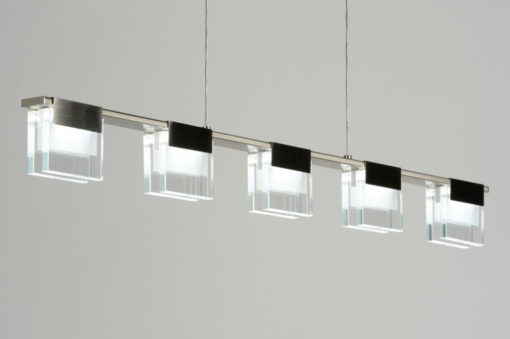 hanglamp 88971: modern, design, staalgrijs, glas