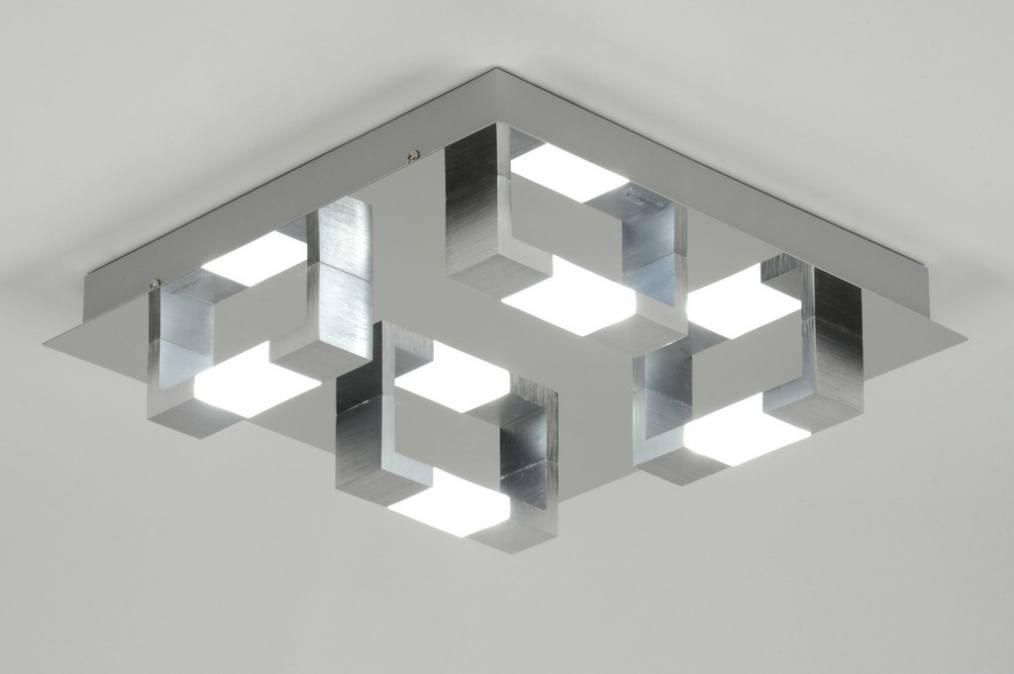 Led Plafondlamp Keuken : Plafondlamp 89145: Modern, Aluminium, Geschuurd Aluminium, Glas
