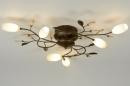 bekijk plafondlamp-87895-klassiek-roest-bruin-brons-glas-zacht_geel-metaal