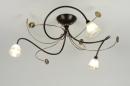 bekijk plafondlamp-88821-klassiek-roest-bruin-brons-glas-zacht_geel-metaal-rond