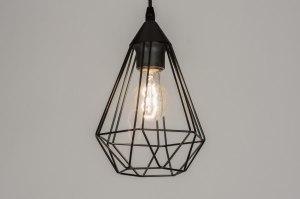 hanglamp 10155: modern, metaal, zwart, mat