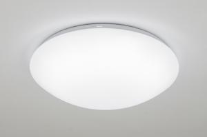 plafondlamp 10163: kunststof, wit, rond