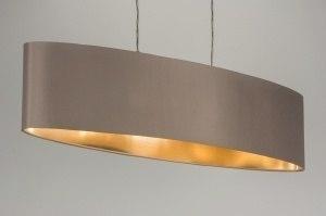 hanglamp 10182: modern, stof, taupe, ovaal