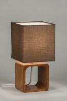 tafellamp 10263: modern, hout, stof, bruin