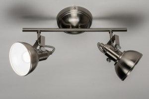 plafondlamp 10443: staalgrijs, staal rvs, rond, langwerpig