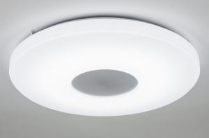 plafondlamp 10448: modern, design, wit, kunststof