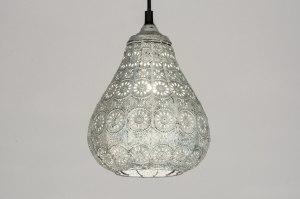 hanglamp 10619: klassiek, metaal, grijs, rond