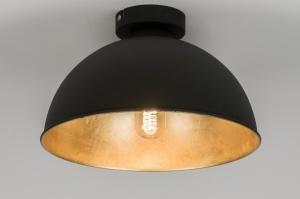 plafondlamp 10698: modern, zwart, mat, metaal