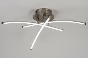 plafondlamp 10776: modern, design, staalgrijs, staal rvs