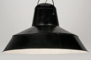 hanglamp 10806: retro, metaal, zwart, rond