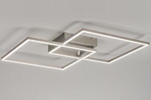 plafondlamp 10840: modern, design, staalgrijs, staal rvs