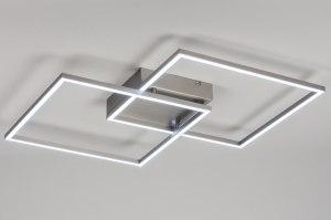 plafondlamp 10841: modern, design, staalgrijs, staal rvs