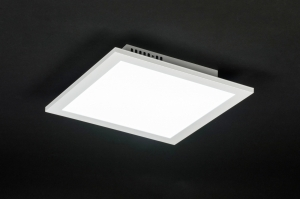 plafondlamp 10853: modern, wit, mat, aluminium
