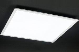 plafondlamp 10855: modern, wit, mat, aluminium