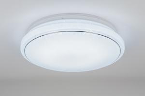 plafondlamp 10857: modern, wit, mat, kunststof
