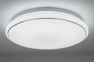 plafondlamp 10858: modern, wit, mat, kunststof