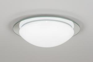 plafondlamp 10870: modern, wit, mat, kunststof