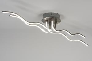 plafondlamp 10873: modern, design, staal rvs, langwerpig