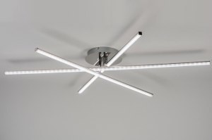 plafondlamp 10877: modern, design, staalgrijs, staal rvs