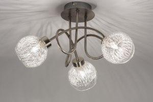 plafondlamp 10878: modern, landelijk, rustiek, staal rvs