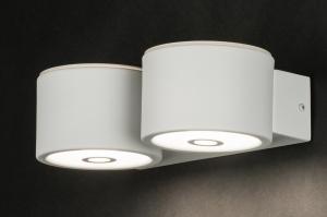 wandlamp 10914: modern, wit, mat, metaal