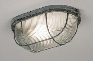 plafondlamp 10963: industrie, look, grijs, glas